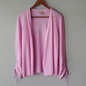 Chico's Pink 3/4 Sleeve Open Cardigan Sweater 8